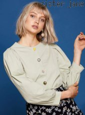 sister jane(シスタージェーン)<br>Mixed Button Cotton Blouse  19春夏予約【19SJ01BL807GRN】シャツ・ブラウス