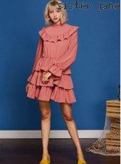 sister jane(シスタージェーン)<br>Bib Ruffle Dress in Pink  19春夏【19SJ01DR1033PNK】フレアワンピース