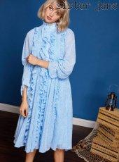 sister jane(シスタージェーン)<br>Sheer Ruffle Midi Dress  19春夏【19SJ01DR1034BLE】フレアワンピース
