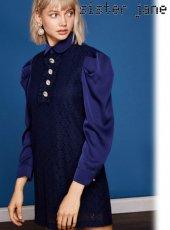sister jane(シスタージェーン)<br>Lace Shift Dress  19春夏予約【19SJ01DR1037NVY】フレアワンピース