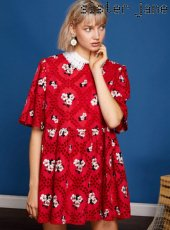sister jane(シスタージェーン)<br>Embroidery Smock Mini Dress  19春夏【19SJ01DR1039RED】フレアワンピース 19ssfs