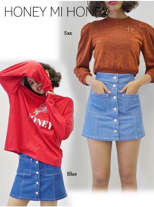 Honey mi Honey (ハニーミーハニー)<br>denim miniskirt  19春夏【19S-SW-08】タイトスカート19ssfs sale