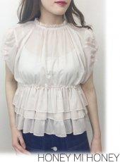 Honey mi Honey (ハニーミーハニー)<br>chiffon blouse  19春夏【19S-TA-44】シャツ・ブラウス19ssfs