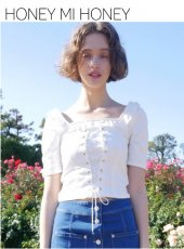 Honey mi Honey (ハニーミーハニー)<br>laceup blouse  19春夏予約【19S-TA-48】シャツ・ブラウス19ssfs