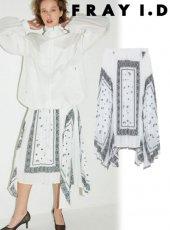 FRAY I.D(フレイアイディー)<br>ユニークヘムラインプリーツスカート  19春夏【FWFS191059】フレアスカート19ssfs