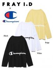 FRAY I.D(フレイアイディー)<br>チャンピオンバッグプリントロングスリーブTee  19春夏【FWCT191004】Tシャツ19ssfs
