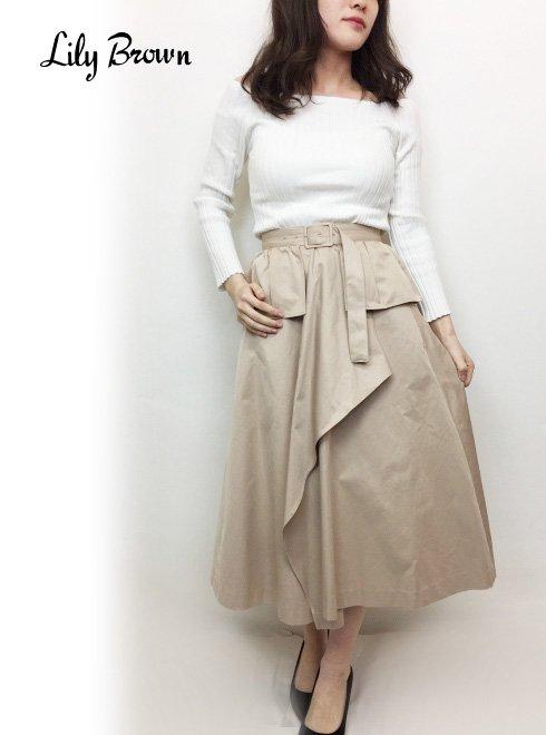 b0cb1d97708 Lily Brown(リリーブラウン) ベルト付きトレンチスカート 19春夏【LWFS191122】フレアスカート19ssfs
