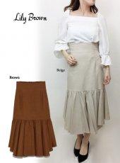 Lily Brown(リリーブラウン)<br>ランダム裾ハイウエストスカート  19春夏【LWFS191078】フレアスカート19ssfs