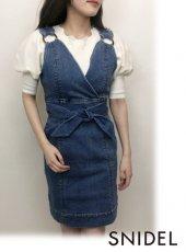 Lily Brown(リリーブラウン)<br>カシュクールデニムワンピース  19春夏【LWFO191101】フレアワンピース19ssfs