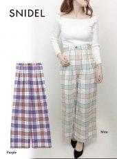 snidel(スナイデル)<br>オリジナルチェックワイドパンツ  19春夏【SWFP191142】パンツ19ssfs