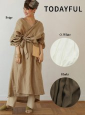 TODAYFUL(トゥデイフル)<br>Linen Gather Gown  19春夏.予約【11910009】ジャケット