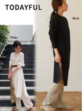 TODAYFUL(トゥデイフル)<br>Doubleface Slit Long T-shirts  19春夏.【11910632】Tシャツ