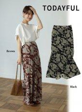 TODAYFUL(トゥデイフル)<br>Flower Georgette スカート  19春夏.【11910816】フレアスカート