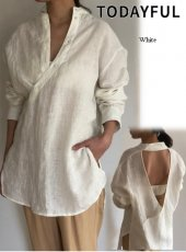 TODAYFUL(トゥデイフル)<br>Backopen Linen Shirts  19春夏.予約【11910437】シャツ・ブラウス