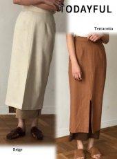 TODAYFUL(トゥデイフル)<br>Layered Linen スカート  19春夏.予約【11910817】フレアスカート
