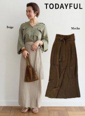 TODAYFUL(トゥデイフル)<br>Linen Wraparound スカート  19春夏.【11910815】フレアスカート