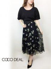 COCODEAL(ココディール)<br>総柄フラワー刺繍チュールギャザースカート  19春夏.【79217223】フレアスカート