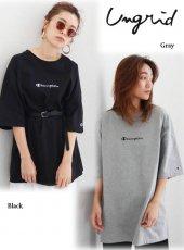 Ungrid(アングリッド)<br>Champion別注 刺繍ロゴビッグTee  19春夏.【111922700701】Tシャツ19ssfs
