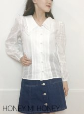 Honey mi Honey (ハニーミーハニー)<br>sailor cotton blouse  19春夏.予約【19A-TA-03】シャツ・ブラウス 19ssfs