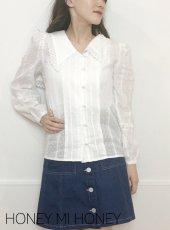 Honey mi Honey (ハニーミーハニー)<br>sailor cotton blouse  19秋冬【19A-TA-03】シャツ・ブラウス