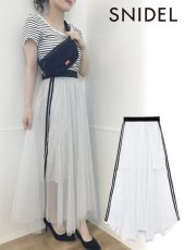snidel (スナイデル)<br>シャイニーラインスカート  19春夏.【SWFS192093】ロング・マキシスカート19ssfs