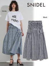 snidel (スナイデル)<br>チェックシャーリングスカート  19春夏.【SWFS192094】フレアスカート19ssfs