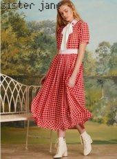 sister jane(シスタージェーン)<br>Ladybird Check Midi Dress  19春夏.予約【19SJ03DR1093】マキシワンピース