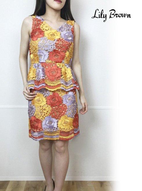 Lily Brown(リリーブラウン)<br>フラワーレース台形スカート  19春夏.【LWFS192051】フレアスカート19ssfs sale