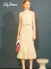 Lily Brown(リリーブラウン)<br>デザインステッチスカート  19春夏.【LWFS192151】フレアスカート19ssfs