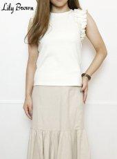 Lily Brown(リリーブラウン)<br>フリルカットノースリ  19春夏.【LWCT192162】タンクトップ・ノースリーブトップス19ssfs