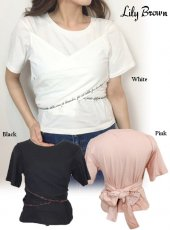 Lily Brown(リリーブラウン)<br>バックリボン刺繍Tシャツ  19春夏.【LWCT192008】Tシャツ19ssfs