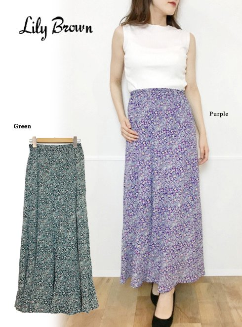 Lily Brown(リリーブラウン)<br>チューリップ柄切り替えスカート  19春夏.【LWFS193037】ロング・マキシスカート19ssfs sale