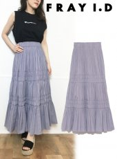 FRAY I.D (フレイアイディー)<br>タフタギャザースカート  19春夏.【FWFS193017】ロング・マキシスカート19ssfs