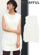 TODAYFUL (トゥデイフル)<br>Cottonlinen Knit Vest  19秋冬予約【11920511】ベスト