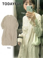 TODAYFUL (トゥデイフル)<br>Stripe Shirts Dress  19秋冬2【11920313】マキシワンピース
