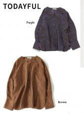 TODAYFUL (トゥデイフル)<br>Collarless Stripe Shirts  19秋冬予約【11920414】シャツ・ブラウス