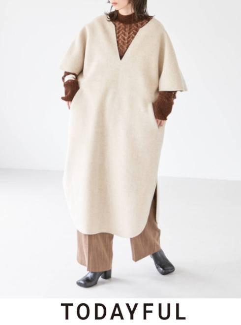 TODAYFUL (トゥデイフル)<br>Wool Caftan Dress  21秋冬.予約【11920305】マキシワンピース 入荷時期:11月中旬~