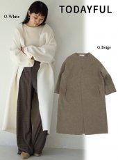 TODAYFUL (トゥデイフル)<br>Collarless Long Coat  19秋冬予約【11920003】ウールコート