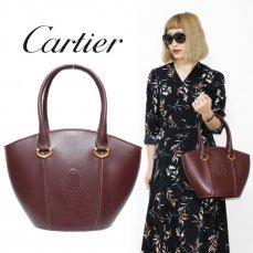 Cartier カルティエ ヴィンテージ<br>マストラインレザーハンドバッグ バケツ型【vintage By RiLish】ランクBA ハンド・ショルダーバッグ