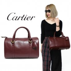 Cartier カルティエ ヴィンテージ<br>マストラインカーフレザーハンドボストンバッグ【vintage By RiLish】ランクBA ハンド・ショルダーバッグ