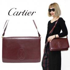 Cartier カルティエ ヴィンテージ<br>マストラインスクエアショルダーバッグ【vintage By RiLish】ランクB ハンド・ショルダーバッグ