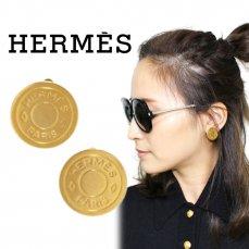 HERMES エルメス ヴィンテージ<br>セリエ ゴールドイヤリング【vintage By RiLish】ランクBA ピアス・イヤリング