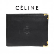 CELINE セリーヌ ヴィンテージ<br>ブラゾンレザー二つ折り財布【vintage By RiLish】ランクBA 財布