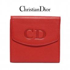 Dior ディオール ヴィンテージ<br>ロゴレザーWホック二つ折り財布 レッド【vintage By RiLish】ランクAB 財布