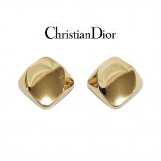 Dior ディオール ヴィンテージ<br>スクエアゴールドイヤリング【vintage By RiLish】ランクAB イヤリング・ピアス