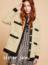 sister jane(シスタージェーン)<br>Yellow Tweed Oversized Cardigan  19秋冬【20SJ0CG006】カーディガン