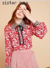 sister jane(シスタージェーン)<br>Mixed Print Retro Collar Blouse  19秋冬【20SJ0BL849】シャツ・ブラウス