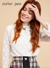sister jane(シスタージェーン)<br>Ruffle Lace Butterfly Blouse  19秋冬【20SJ0TO410】シャツ・ブラウス