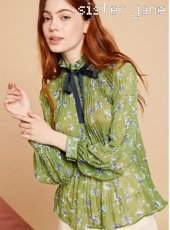 sister jane(シスタージェーン)<br>Pleated Blouse in Floral  19秋冬予約【20SJ0TO411】シャツ・ブラウス