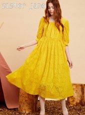 sister jane(シスタージェーン)<br>Yellow Lace Midi Dress   19秋冬【20SJ0DR1107】マキシワンピース